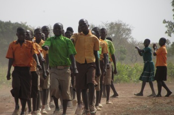 School children practising marching in West Mamprusi Ghana Independence Day